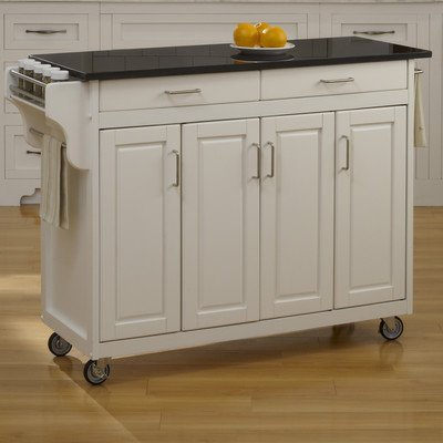 Create-a-Cart Kitchen Cart with Granite Top Base Finish: White