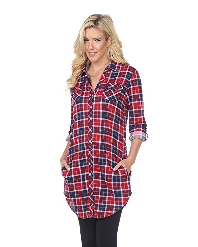 White Mark 'Piper' Button-Front Plaid Dress Shirt in Burgundy & Blue - Medium from White Mark