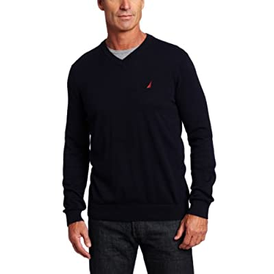Discount Nautica Men's V Neck Solid Sweater for sale