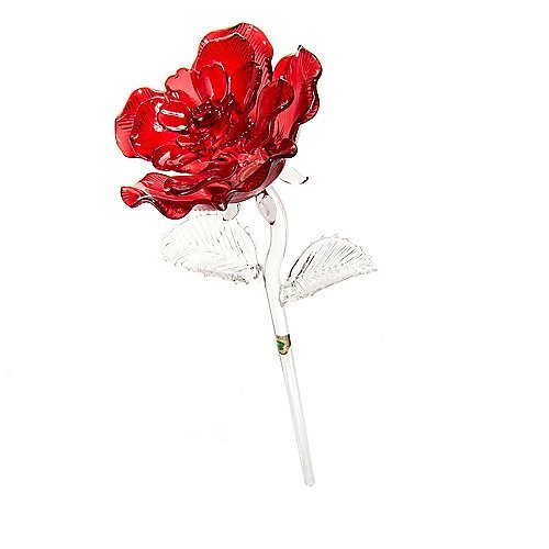 "Waterford® Crystal Gifts 14.5"" Colored Sculpted Glass Red Rose"