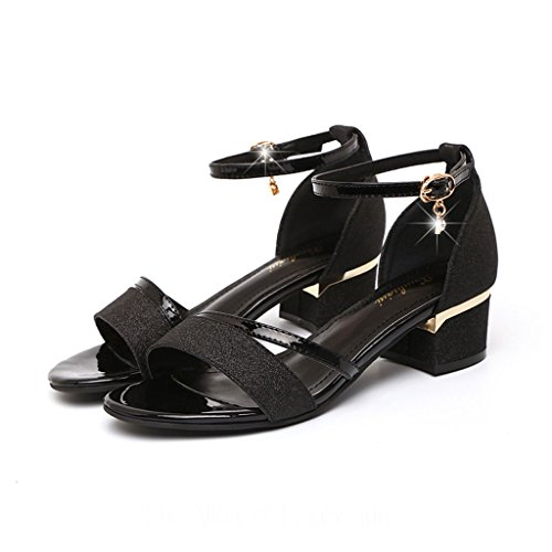 Toe Open Women Shoes Rhinestone Summer Mid Heel Rough Sandals Korean Heel Black Rome Yq0Fwx4