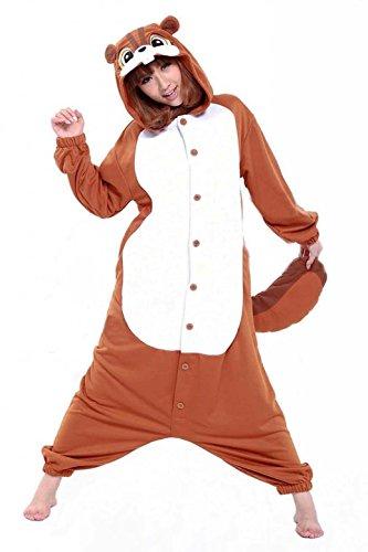 [Unisex Adult Squirrel Kigurumi Animal Onesie Pajamas Costume Cosplay Clothing Sleepwear Romper] (Role Reversal Halloween Costumes)