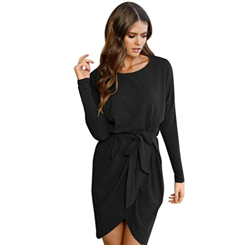 Sinwo Womens Fashion Bandage Dress Ladies Long Sleeve Loose Dress Casual Belted Dress (Black, XXL)