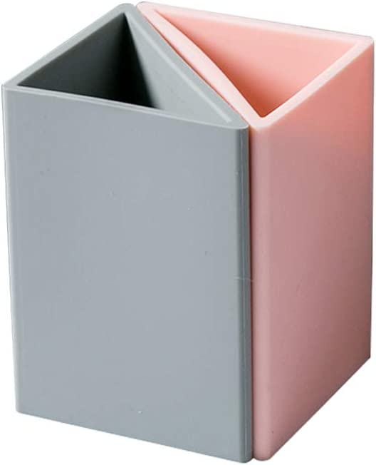 Verxii Home Pen Pencil Holder for Desk with Recycled Material Silicone Gel-Pink&Grey