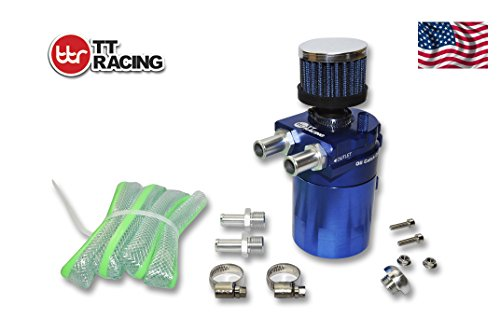 TT Racing 0.5L Oil Catch Tank Can Reservoir Breather Internal Baffle DUAL Chamber Filter 19mm & 15mm Blue OT6BL