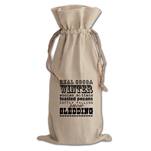 Pecan Canvas - Winter Woolen Mittens Toasted Pecans Canvas Wine Cotton Drawstring Bag