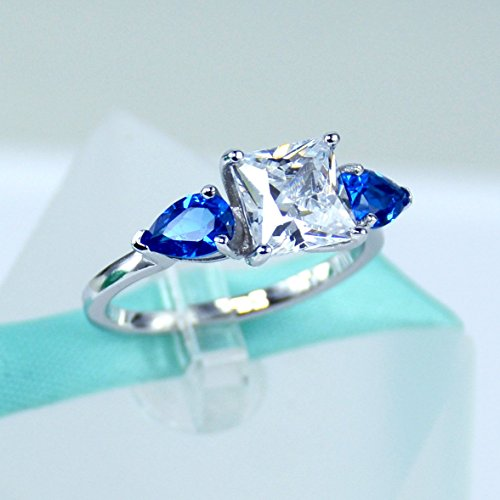 Vvs2 Ring (2Carat Princess Cut Simulated Diamond, Blue Pear Sapphire 925 Sterling Silver Solitaire Ring, Cubic Zirconia Stone, Daily Ring, Engagement Ring, Promise Ring, Women)