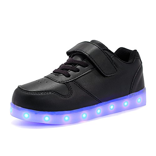 Kids USB Charging LED Light Up Shoes Shiny Low-Top Sneakers for Boys and Girls Christmas Halloween gift (Black - 25/8.5 M US Toddler)
