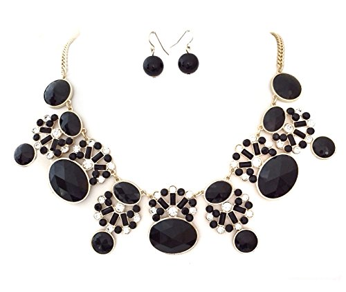Gypsy Jewels Large Black and Rhinestone Bling Statement Big Boutique Necklace & Earrings Set
