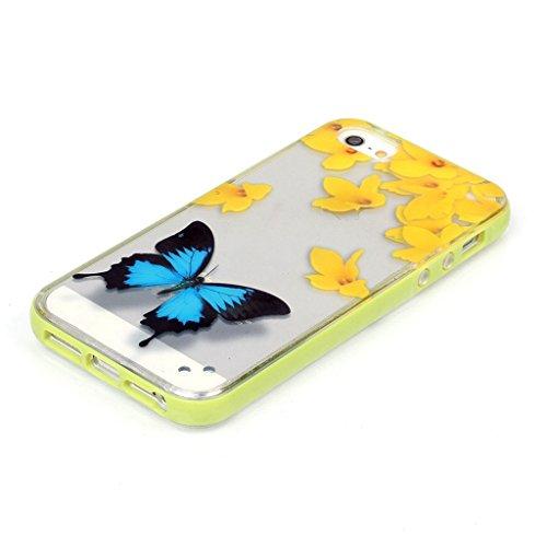 iPhone 5 / 5S / 5G Case Coque , Apple iPhone 5 / 5S / 5G Coque Lifetrut® Slim Design TPU Gel caoutchouc mignon Soft Skin coloré Coque Etui pour Apple iPhone 5 / 5S / 5G [ Papillon ]