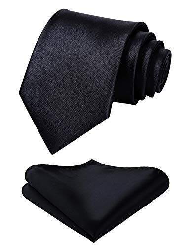 Mens Solid Black Tie 63