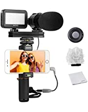 Movo Smartphone Vlogging Kit V7 met Grip Rig, Stereo Microfoon, LED Licht en Draadloze Afstandsbediening - YouTube, TikTok, Vlogging Apparatuur voor iPhone/Android Smartphone Video Kit