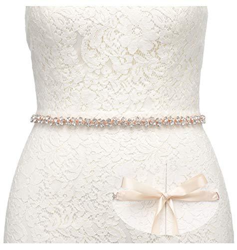 SWEETV Bridal Belt with Rhinestones Wedding Dress Belt Crystal Headband Bride Bridesmaids Sash, Rose Gold ()