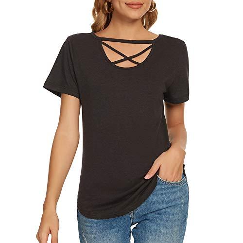 Ranee Womens Criss Cross Summer Tops Casual Short/Long Sleeve V Neck Choker T Shirt Tees Choker Shirts Blouse Tunic (S-2XL)