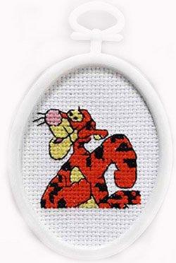 Janlynn Tigger Mini Counted Cross Stitch Kit-2-1/4 Inch x2-3/4 Inch Oval (Cross Tigger Stitch)