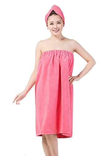 Absorbent Microfiber Sexy Spa Bath Wrap Cover Up Towels Set Soft Fleece Terry Bathrobe Bath Towel Tube Dress Robe Nightgown Sleepwear w Shower Hair Drying Turban Cap Hat for Women Girls ()