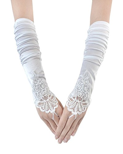 Handschuh Aiyana Hochzeit V Brautkleid Ausschnitt Elegantes Weiss ärmellos Schnuerung Langes Rueckenfrei Spitze xWZC1RnxFq