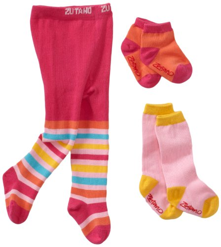 (Zutano Baby Girls' Newborn Three Pack Tight Knee Highs and Anklets, Pink/multi, 0-12 Months)