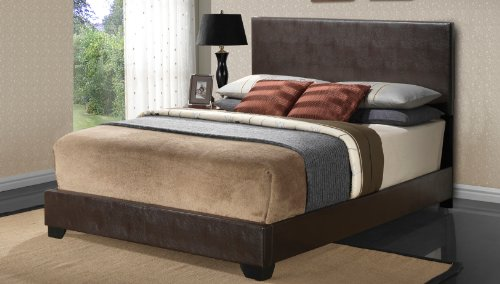 Modern Cappuccino Platform Bed (Cappuccino - Full Size - Modern Headboard Leather Look Upholstered Bed 1800)