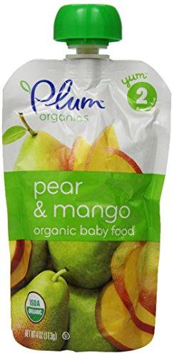 Mélanges de composés organiques bébé deuxième prune, de poire et de mangue, sachets de 4 onces (Pack de 12)