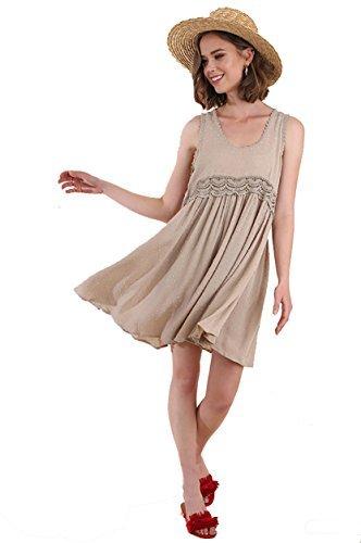 Umgee Boho Breeze! Romantic Sleeveless Swiss Dot Dress (Latte, (Swiss Dot)