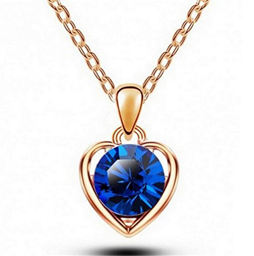 [Next-Fri Korean Crystal Pendant Necklace Women Alloy Pendant Lady Jewelry(Blue-gold)] (Homemade Princess Costumes For Kids)