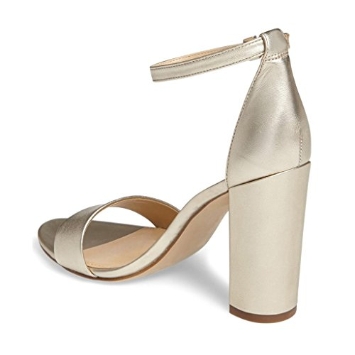 free shipping countdown package FSJ Women Classic Chunky High Heel Sandals Open Toe Ankle Strap Single Band Dress Shoes Size 4-15 US Gold clearance from china discount official cheap sale very cheap EbydF2Vk