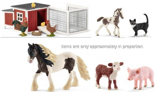 (Schleich Mixed Farm Set of Realistic Pieces with Coop, Tinker Stallion and Foal, Cat, Cow and Piglet Bagged Together, Ready to Give)