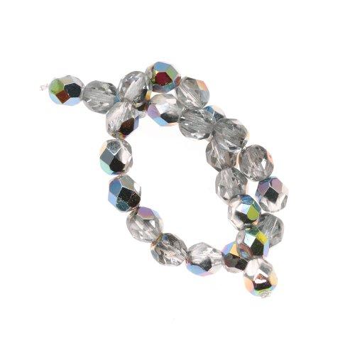 Czech Fire Polish 25-Piece Round Glass Beads, 6mm, Crystal Vitrail -
