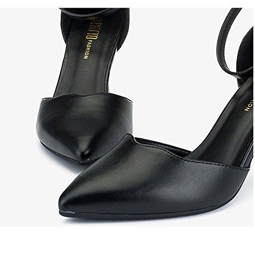 5 Black Chaussures Noir Chaussures Travail Mot De Talons 8cm Mode Mariage UK Bouton EU Hauts 38 Cour Sexy Femme De 5 f16p1
