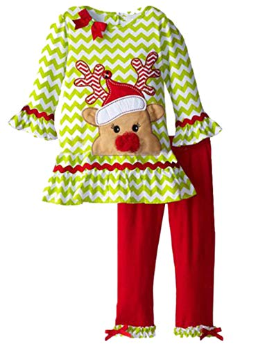 UNIQUEONE 2PCS Toddler Baby Girls Christmas Outfits Cartoon Deer Long Sleeve Top Pants Set Size 2-3Years/Tag100 (Green)]()