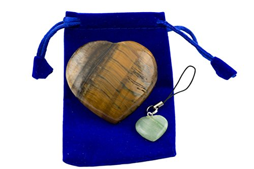 Tiger's Eye Pub Heart Worry Stone with (1 pcs.) Assorted Color Keychain and Blue Velvet Pouch (Tiger's - Scott Glasses Sun