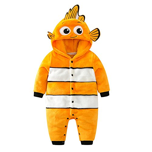 Ideas For Clown Costumes (ALLAIBB Clown Fish Costume Hooded Baby Animal Costumes Flannel Onesie, 6-12 Months)