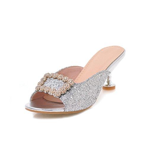 Chaussures Taille Femmes Dames Impression Grande Haute Strass Talons Sandale Carré Été Nouveau C Slipper Boucle Printemps Sandales ZAzxrqdAw