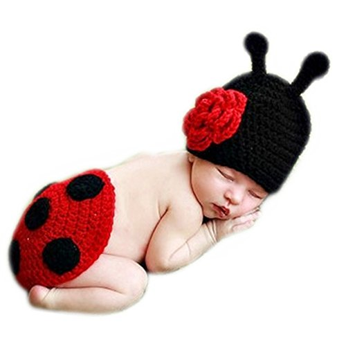 Fashion Cute Unisex Newborn Girls Boys Baby Outfits Photography Props Ladybug Suits -