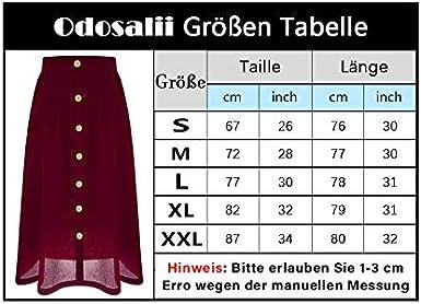 Odosalii Damen Chiffon Maxirock Lang Sommerrock A Linie Elegant Faltenrock Hohe Taille Midi-Rock mit Taschen