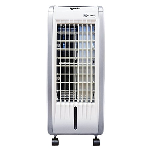 Igenix IG9704 Portable 4-in-1 Evaporative Air Cooler with Fan Heater, Humidifier and Air Purifier Functions, 3 Fan Speeds with Oscillation, 7.5 Hour Timer and Water Tank, 5 Litre, White