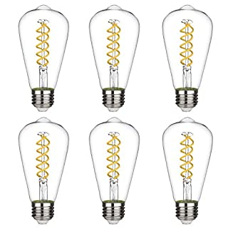 BORT (ST64/ST19) Vintage LED Edison Bulbs, 8W, Daylight White 5000K, Antique LED Filament Light Bulbs, Dimmable, 80W Equivalent, 800LM, E26 Standard Base, Clear Glass (8W-5000K-6Pack)