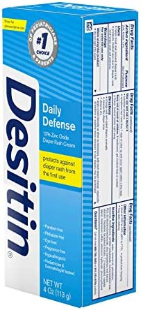 413fIWjRUSL. AC - Desitin Daily Defense Baby Diaper Rash Cream With Zinc Oxide To Treat, Relieve & Prevent Diaper Rash, Hypoallergenic, Dye-, Phthalate- & Paraben-Free, 4 Oz