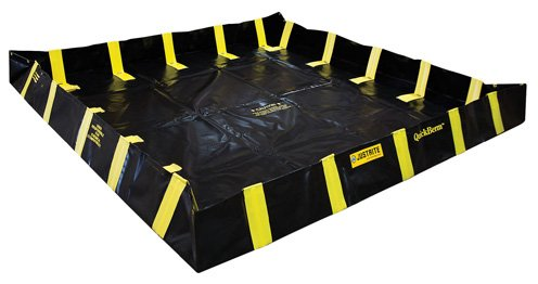 Justrite Manufacturing Company LLC 28539 - QuickBerm Collapsible Berm - Modified PVC coated fabric, Black, 96 in Wide, 96 in Long