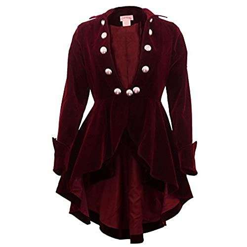 CSDttT (XS-28) Velvet Wine Waterfall - PRIME - Maroon Red Gothic Ruffle Victorian Style Coat Jacket (Medium, Red)