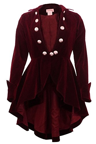 (XS-28) Velvet Wine Waterfall - PRIME - Maroon Red Gothic Ruffle Victorian Style Coat Jacket (P18, Red)