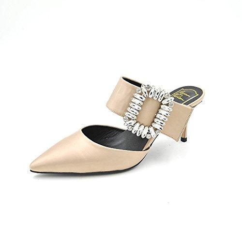 alti singolo ha estate primavera ed punta seta acqua con Versatile tacchi e sottolineato tacco i beige scarpe calzature di foratura donna Calzature di scarpe alto gentildonna 37 donna raso wFzxZZ
