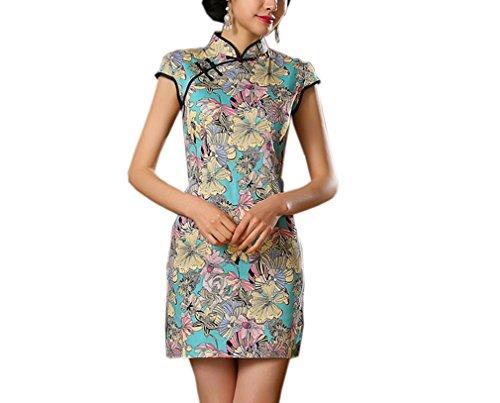 Luck Femme Cheongsam Traditionnelle Robe Courte Chinoise Motif Fleur Polyester