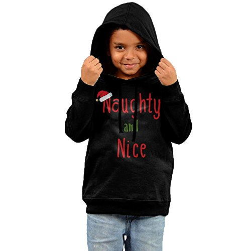 ZheuO Boys & Girls Infant Naughty And Nice Visor Casual Style Hoodie Hooded Sweatshirt 2 Toddler Black