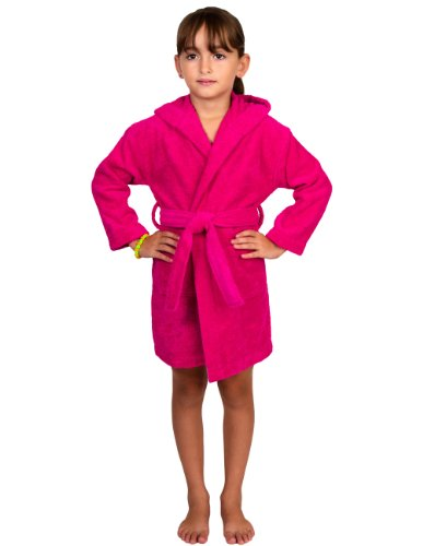 TowelSelections Little Girls Robe, Kids Hooded Cotton Terry Bathrobe Cover-up Size 4 Dark Pink