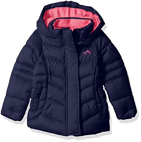 (Vertical '9 Girls' Toddler Fashion Quilted Bubble Jacket with Faux Fur, Navy, 3T)