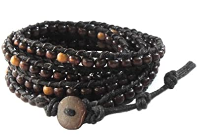 LUN NA Rare Asian Vintage Art Handmade 100% Thai Buddha Tibet Fashion Style Nature Dark Brown Wood Bead Wristband Wrap Bracelet String from Thailand