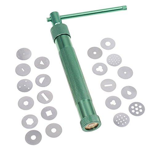 Dreh Ton Extruderpistole Skulptur Teig Kuchen Zuckerpaste Werkzeug W / 20 Scheiben