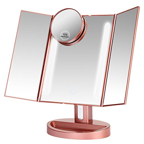 ASSIS Led Lighted Makeup Mirror with 10X Magnifying, Natural LED, Touch Screen and Auto Off Dual Power Supply, 180° Adjustable, Portable Compact Travel Trifold Vanity Mirror(Rose Gold)